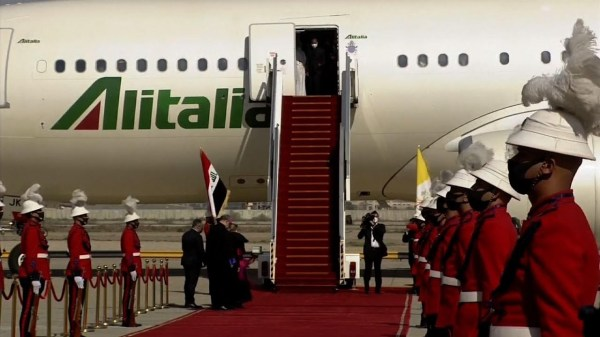 Pope Francis arrives in Iraq