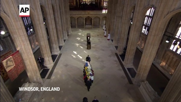 Queen and royal family at funeral of Prince Philip