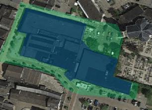Blauw: winkelcentrum - Groen: gescande oppervlakte