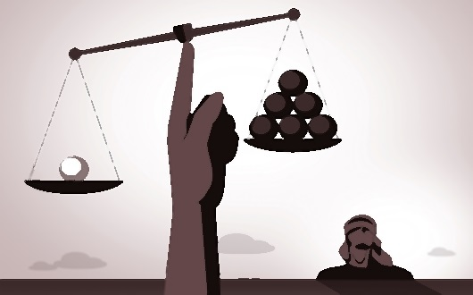 Unequal justice scale