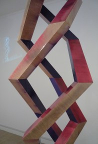 Robert Phillips 'Continental' (2013), spray-paint and epoxy resin on birch plywood. Visible in background, Edward Bagenal 'Reformation' (2013), camera, projection, open source software (Daniel Shiffman http://www.shiffman.net NYU), with assistance from Technologist Craig McCahill