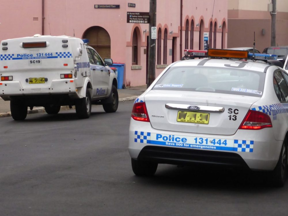 Police cars in The Rocks