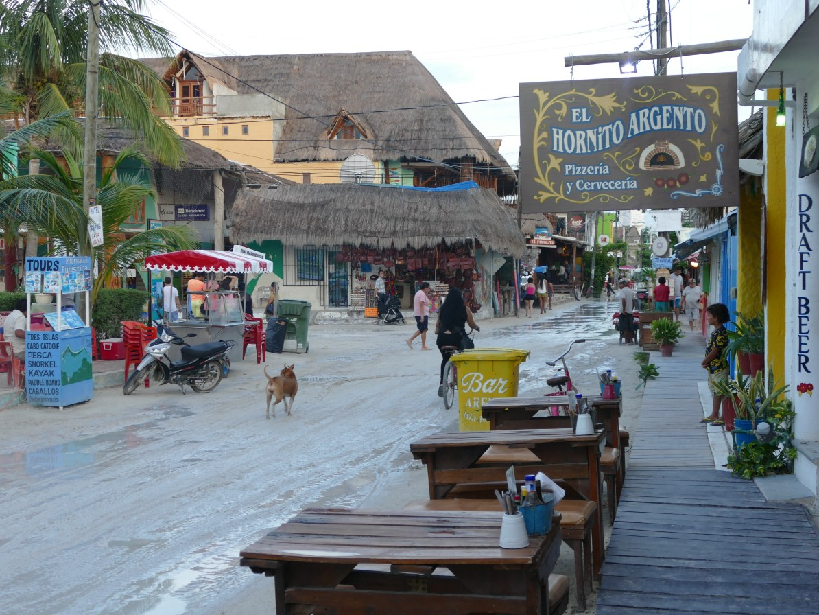 Street scene from Holbox Island's town square