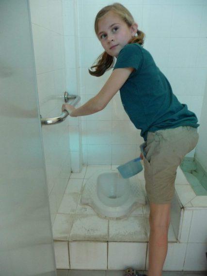 Squatter toilet in Cambodia