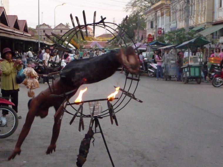 Daring street performer in Siem Reap