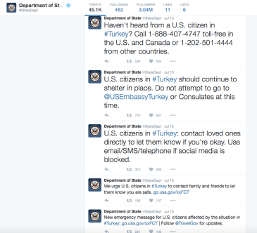 Real time State Department tweets of attacks going on in Turkey as we were talking with Chase and partners about Trip Cancellation and Trip Interruption coverage.