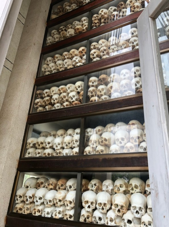 Thousands of victims' skulls are displayed in the memorial.