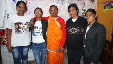 Acid attack survivors from L to R: Bala, Roopa, Geeta. Madhu, and Neetu