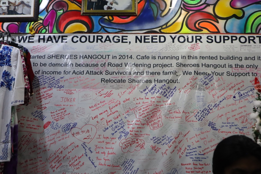 Banner of encouragement hanging inside cafe