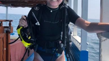 Riley ready to scuba dive