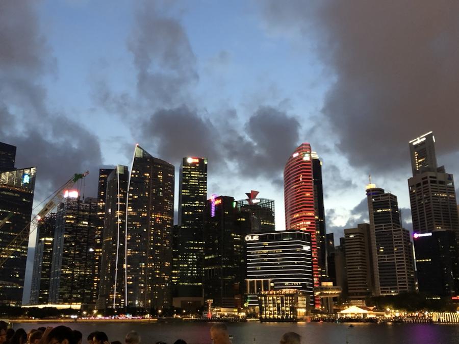 Marina Bay skyline at night