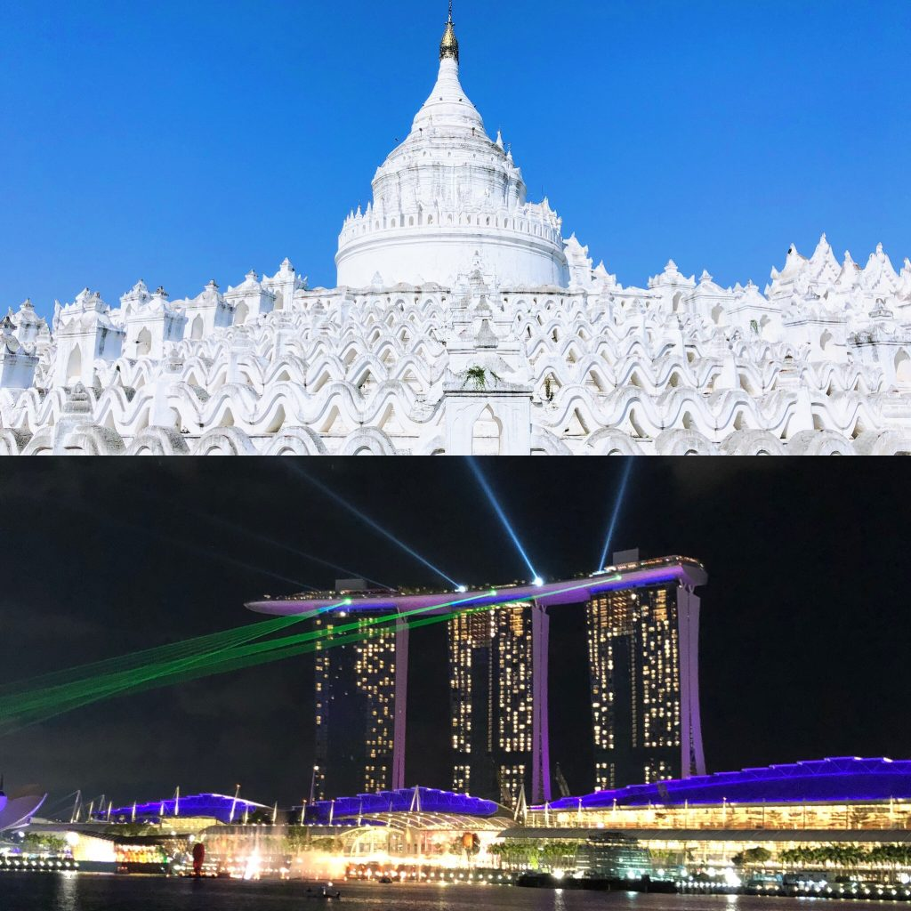Comparison of Hsinbyume Pagoda in Myanmar to Marina Bay Sands in Singapore. Top things to do with teens.