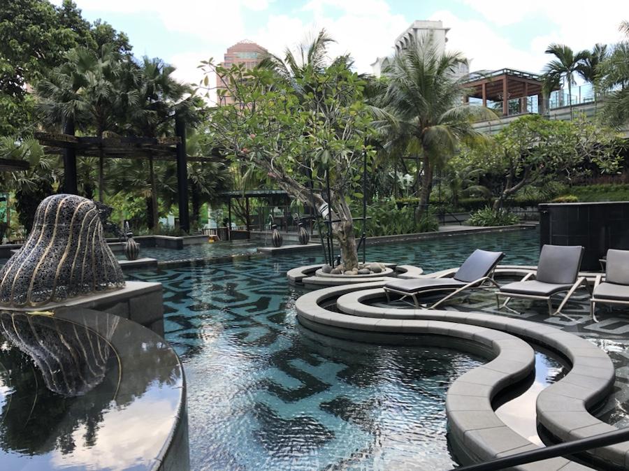 Swimming pool at luxury high rise condominium