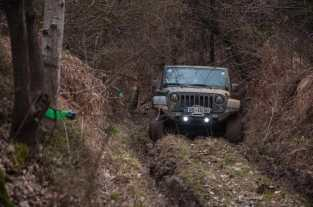 Deep ruts and extremely slippery ground = winching