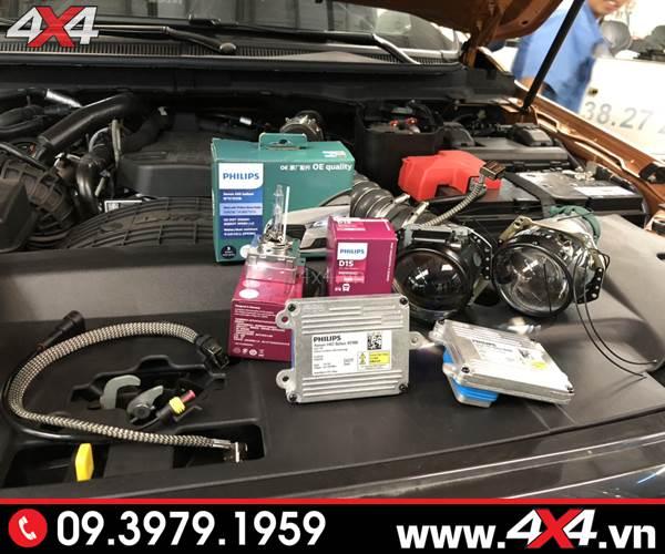 Độ đèn Ford Ranger: Gói độ đèn bi Xenon Philips tăng sáng 150%