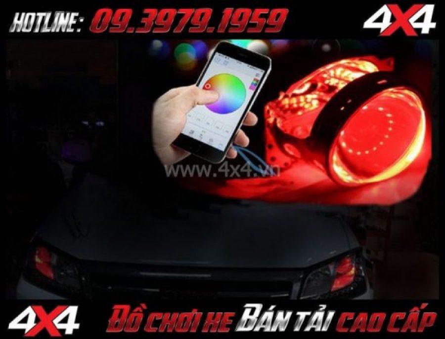Photo Đèn mắt quỷ Devil đổi màu theo app điện thoại lắp đẹp và đẹp cho xe Ford Ranger 2018 2019 ở Sài Gòn