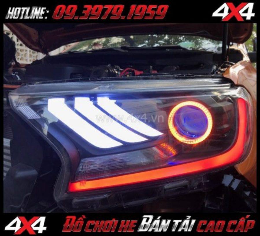 Image Combo Đèn mắt quỷ, mí led, vòng Angel eyes mẫu Ford Mustang 3D gắn đẹp và đẹp cho xe off road Ford Ranger 2018 2019 tại TpHCM