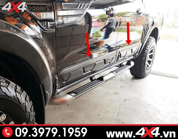 Đồ chơi xe Ford Ranger: Ốp sườn màu đen gắn đẹp và chất cho xe bán tải