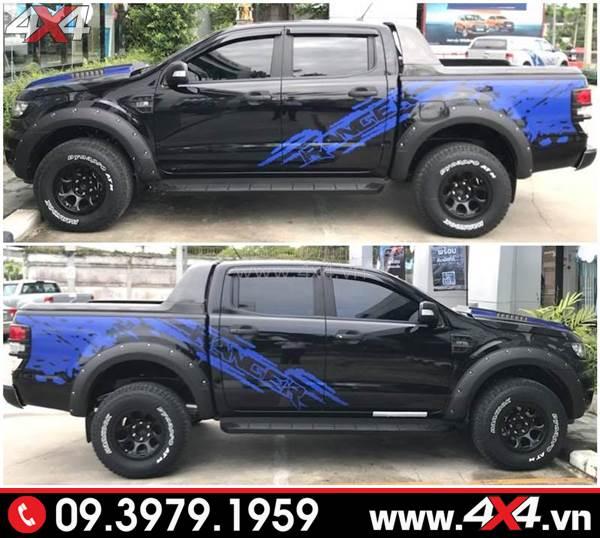 Tem dán xe Ford Ranger: Chiếc bán tải đen lên tem xanh đơn giản mà đẹp