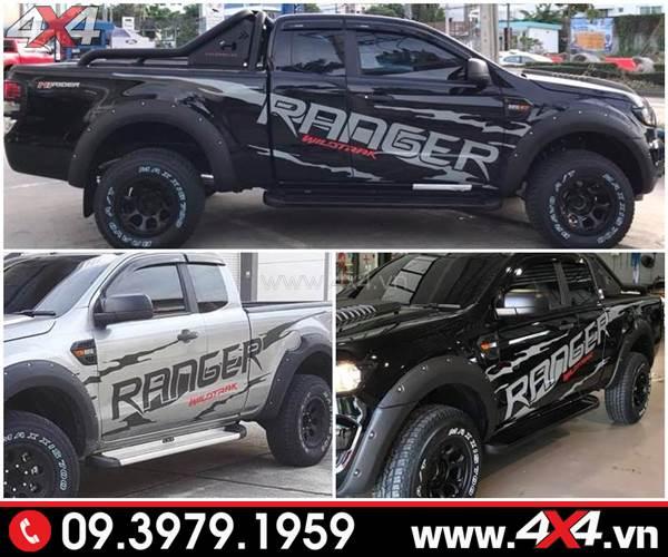 Tem dán xe Ford Ranger: Mẫu tem Ranger Wildtrak đẹp độ xe Ranger đen và bạc