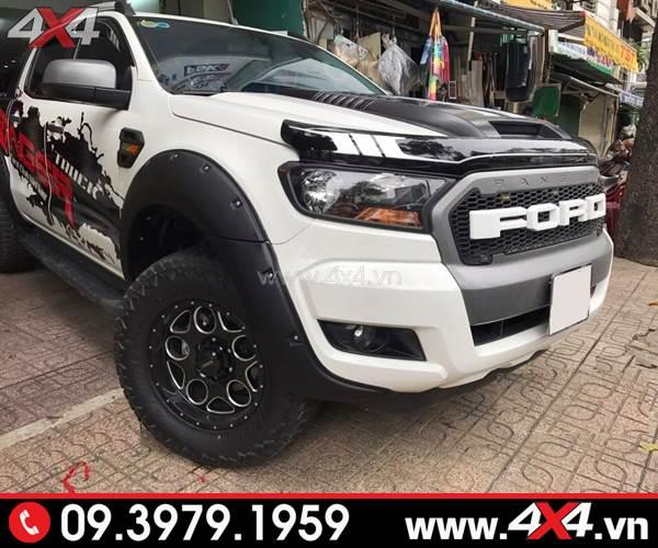 xe Ranger 2018 2019 màu trắng gắn ốp lướt đen trắng đẹp và bắt mắt