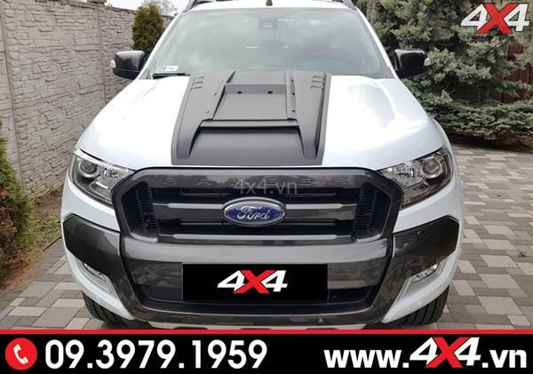 Ốp nắp capo màu đen độ đẹp cho Ford Ranger