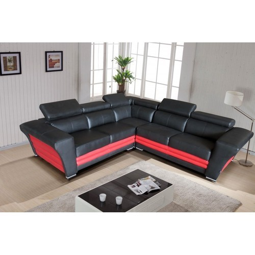 l shaped black leather sofa set country skirted sofas and red designer rs 2500 square