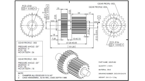 2D Drawing Manufacturing Drawing in Peenya 2nd Stage