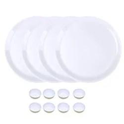 utensza plastic set of 12 pcs 12 plate bowl set unbreakable microwave safe round shape white