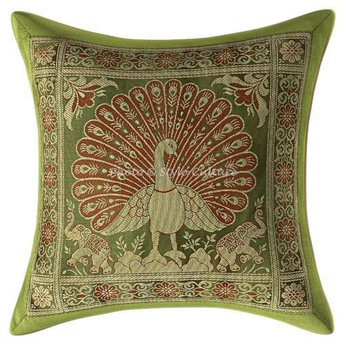 olive green brocade throw pillow cushion covers