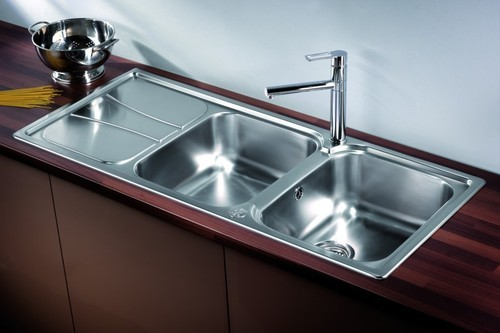 double bowl kitchen sink with drain board