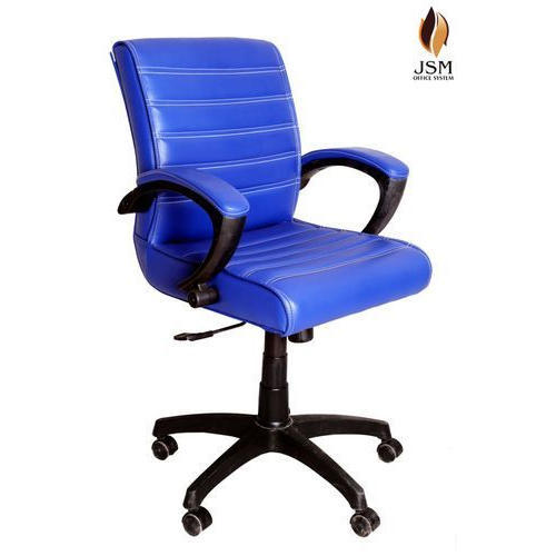 blue leather office chair decowell revolving price list jsm staff rs 3800 piece