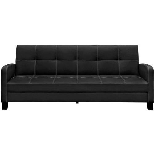 delaney futon sofa bed 3 piece living room set decorative pillows black wood and faux leather dhp couch sleeper rs