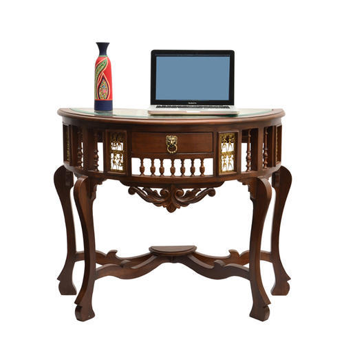 teak sofa table and armchair covers walnut brown wood console with dhokra warli work rs
