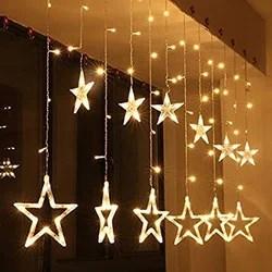 led string lights star curtain lights 12 stars 138 leds warm white