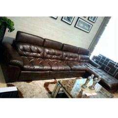 Brown Leather Studded Sofa Tempurpedic Sleeper Reviews Set चमड क स फ ट ल दर