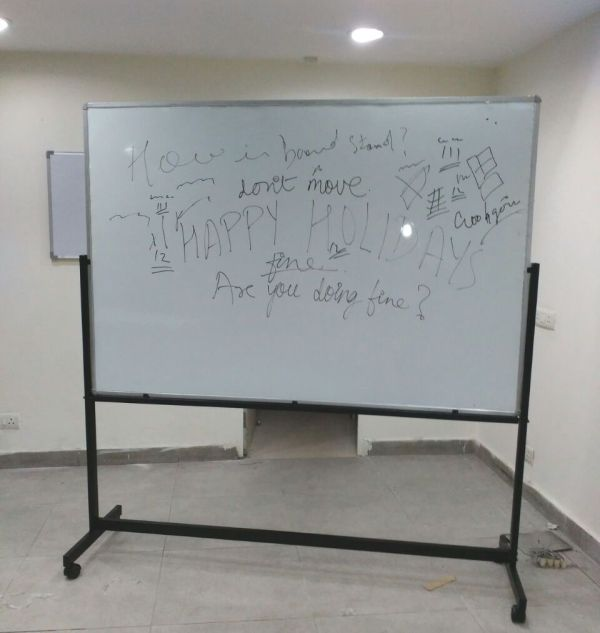 Revolving Four Wheel Stand 3x4 Whiteboard Rs 3000