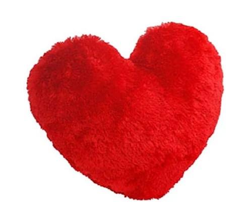 red heart shape plush cushion