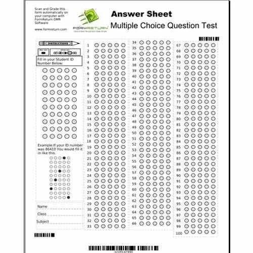 50 Questions Omr Sheet