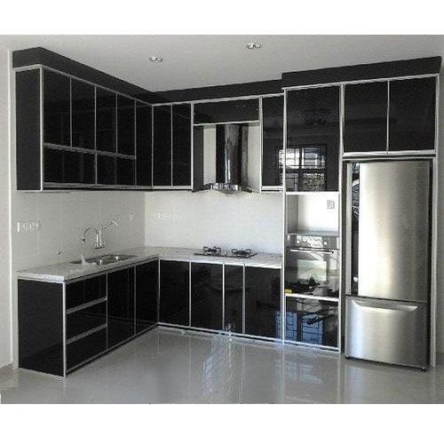 kitchen cabnet backsplashes black aluminium cabinet rs 450 square feet murugan