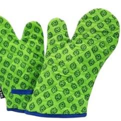 Kitchen Gloves Natural Stone Backsplash Wobbly Walk 2 Pieces Green ह थ क