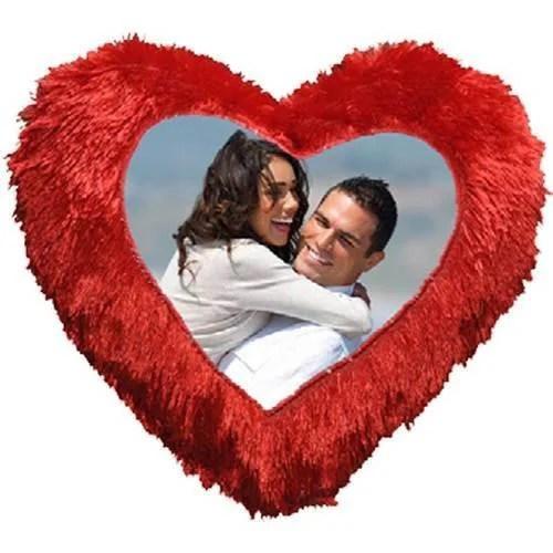 red fur heart cushion