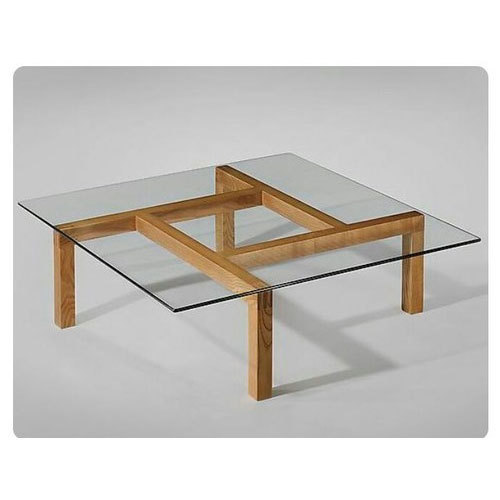 wooden coffee table with glass