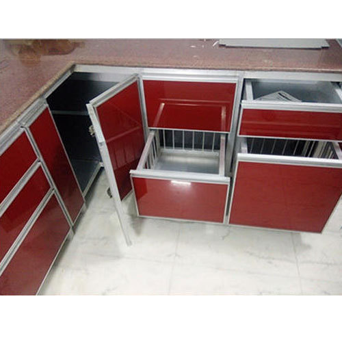 aluminum kitchen cabinets table counter height red aluminium cabinet rs 1250 square feet spider creative