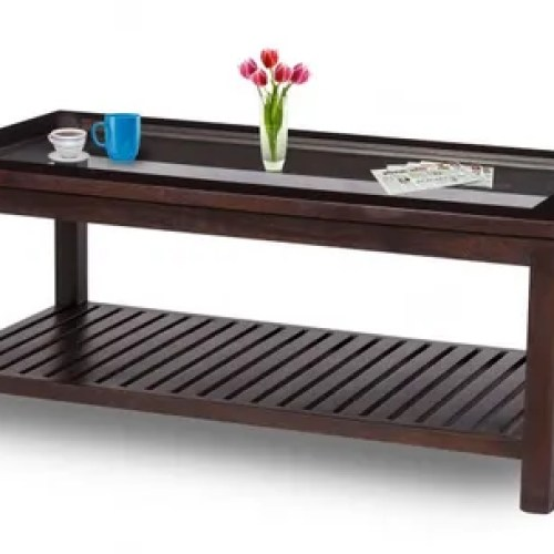 Brown Damro Lsvwgcthu 001 Hummer Large Wooden Glass Top Coffee Table For Home Rs 13590 Unit Id 22023269962