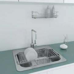 Kitchen Drainer Basket Vinyl Flooring Stainless Steel Chrome Portable Sink Dish Wire Base