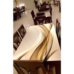 modern digital print glass dining table top