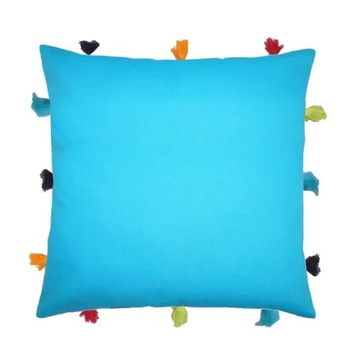 lushomes cushion cover with multi color tassels 12 x 12 available in all sizes
