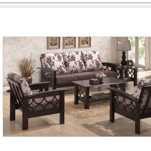 wooden sofa living room rustic wall paint colors brown designer set rs 12000 piece anchal furniture