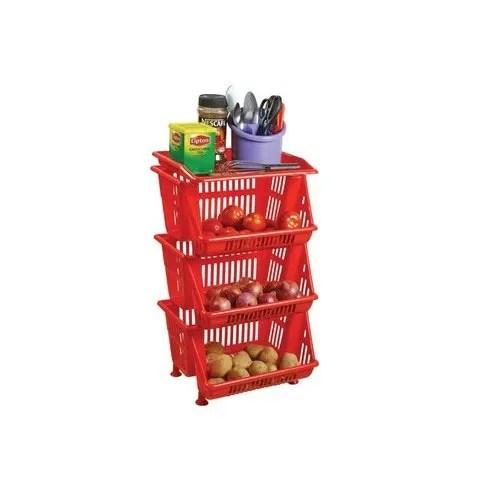 spacio multipurpose plastic storage rack 3 tier